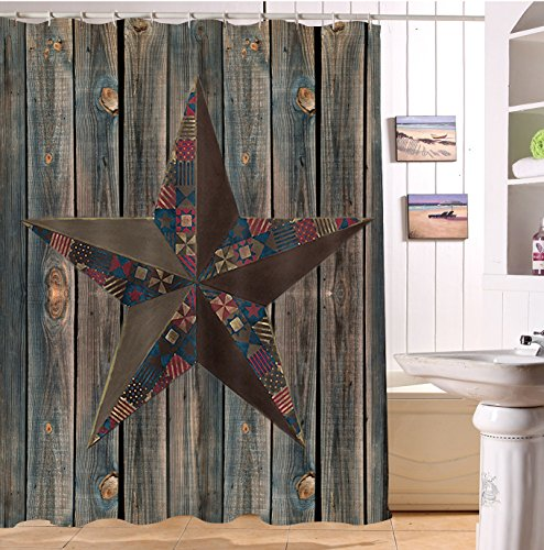 LB Vintage Lone Star on Barn Wood Plank Stall Shower Curtain by, Primitive Rustic West Texas Country Theme Bathroom Decor, 70x70 Shower Window Curtain Waterproof Mold Free