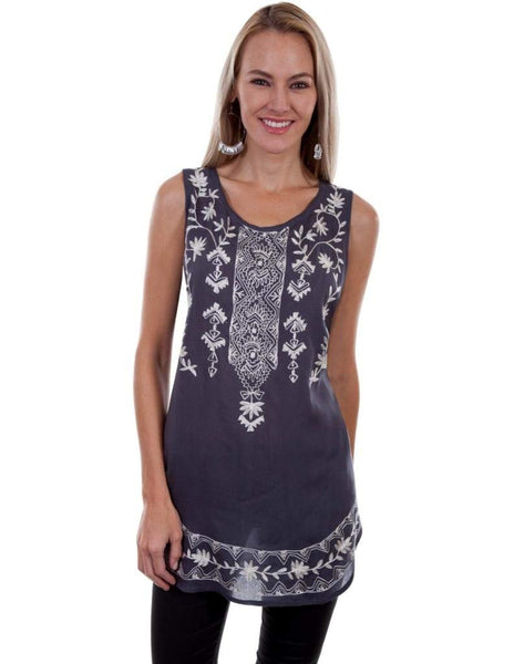 Scully Womens Tally Embroidered Shirt Tail Tank