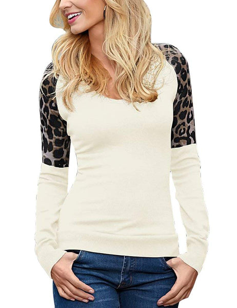 FV RELAY Women's Leopard Print Patchwork Tee Tops Round Neck Long Sleeve T Shirts