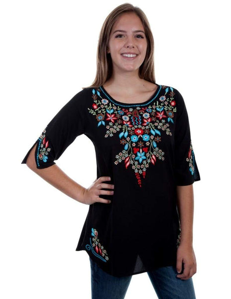 Scully Womens Bara Embroidered Blouse
