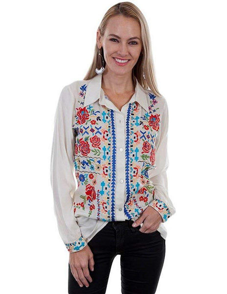 Scully Womens Bailee Sexy Fabric Embroidered Blouse