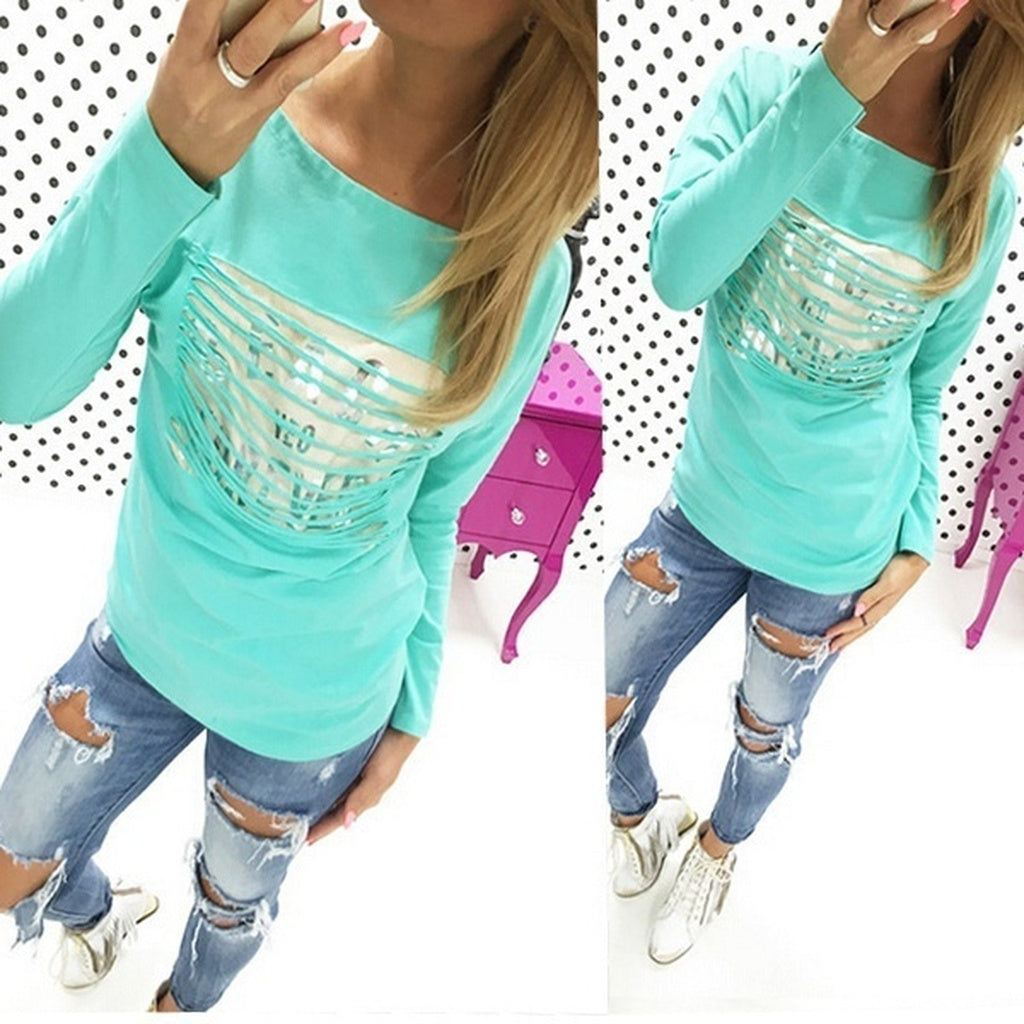 Hot Fashion Womens Loose Pullover T Shirt Long Sleeve Cotton Tops Shirt Blouse TEE