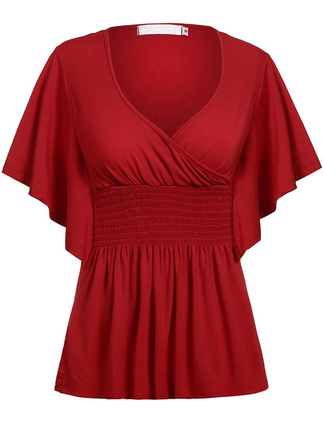 Beyove Women Slimming V-Neck Short Batwing Sleeve Smocked Empire Waist Tunic Top