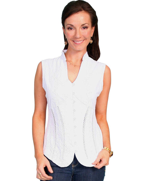 Scully Women's Peruvian Cotton Sleeveless Top - Psl-059 Wh