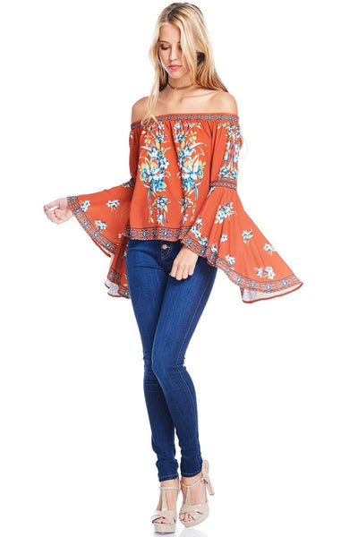 Flying Tomato Women's Off Shoulder Top w Big Bell Sleeves