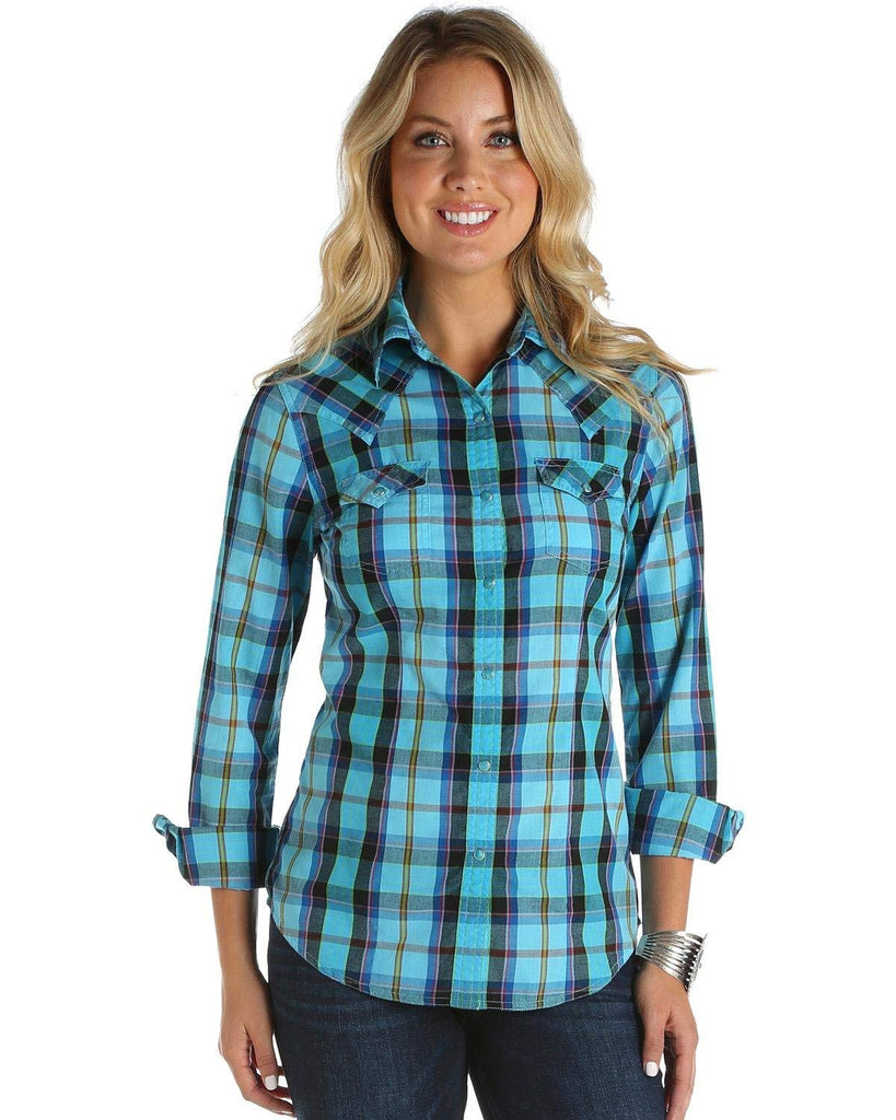 Wrangler Women's Turquoise Plaid Western Top - Lw6561m