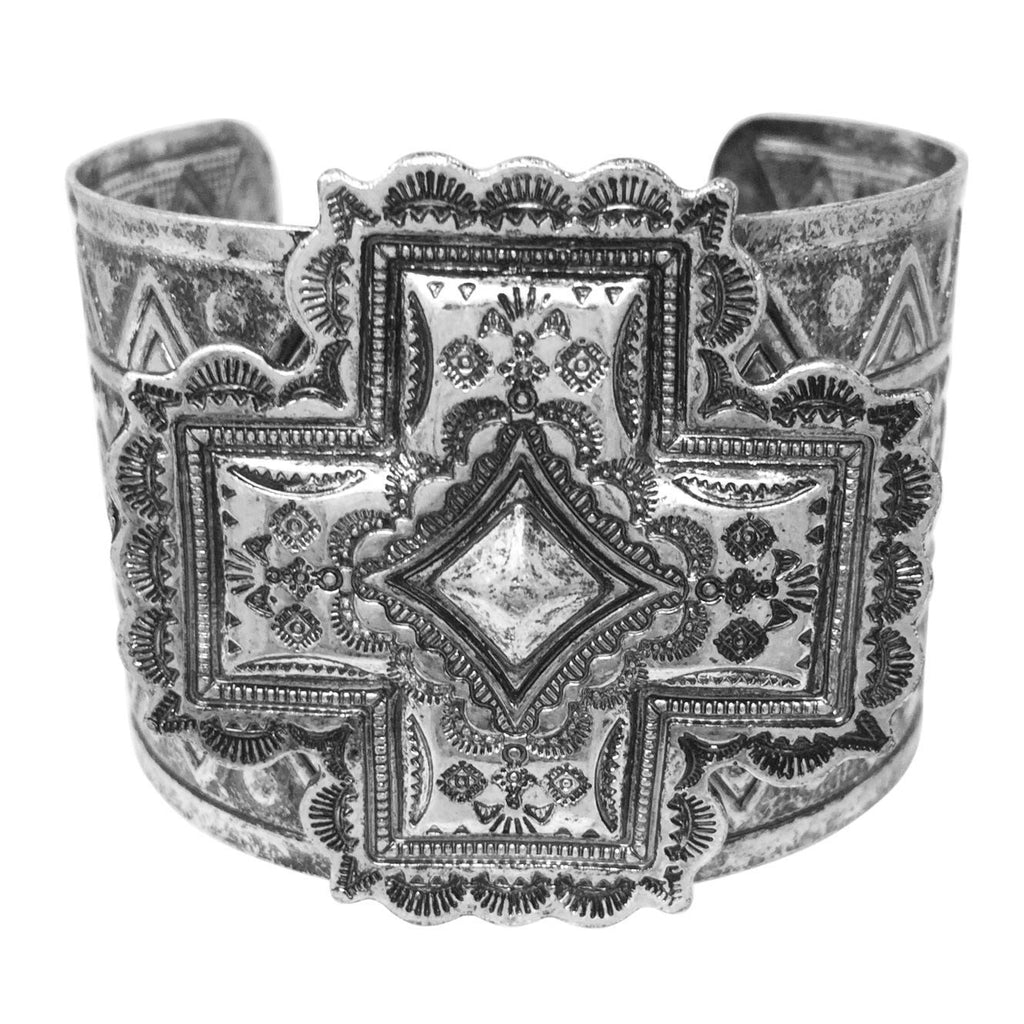 Gypsy Jewels Burnished Silver Tone Wide Statement Cuff Bangle Bracelet