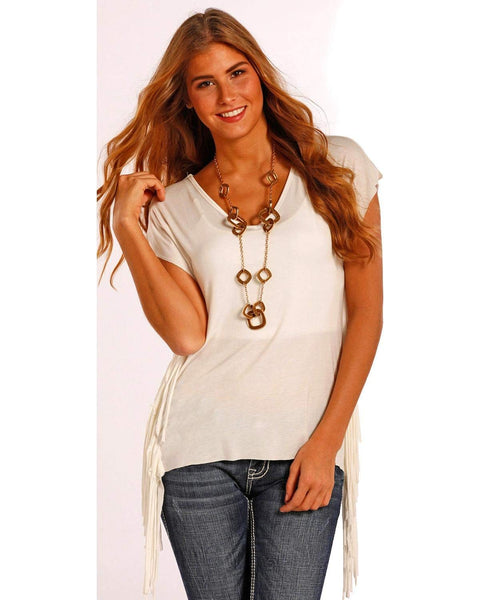 J9-8578 Panhandle Slim Juniors Drop Sleeve Tunic Top with Fringe