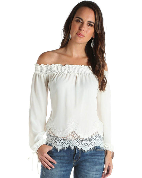 Wrangler Women's Scalloped Lace Off-The-Shoulder Top - Lw6671n