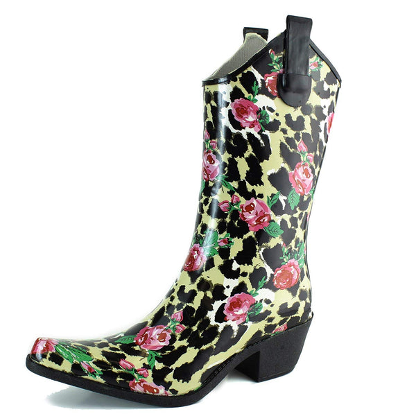 DailyShoes Cowboy Rose Skull Floral Prints High Heel Rain Boots
