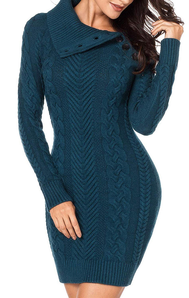Happy Sailed Women Casual Sleeve Button Crewneck Cable Knit Sweater Pullover Bodycon Dress Tops S-L