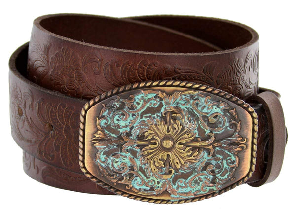 "Women's Western Tooled Full Grain Leather Jean Belt Black Brown 1.5"" Wide"
