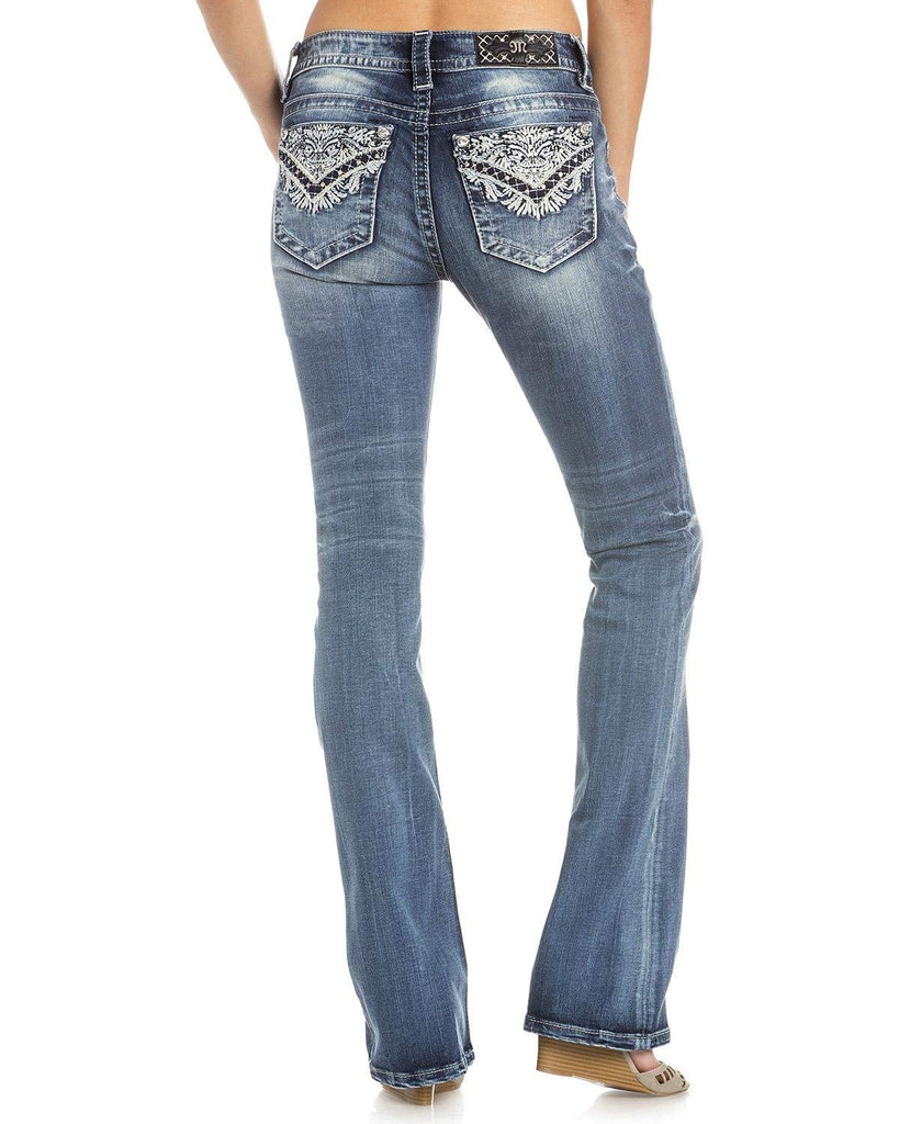 Miss Me Women's Intricate Embroidered Boot Cut Jeans - M3177b-K852