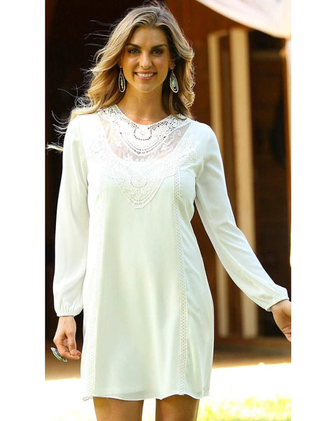 Wrangler Women's Lace Inset Long Sleeve Dress - Lwd115n
