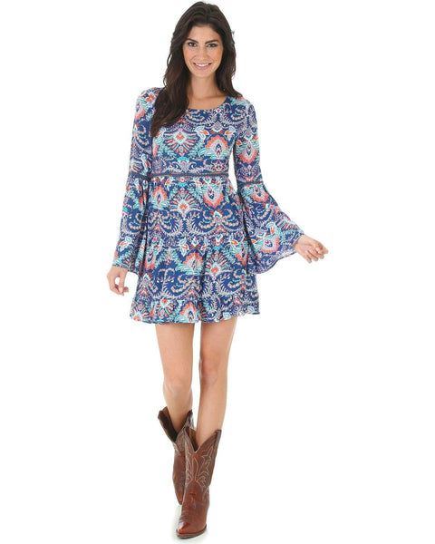 Wrangler Women's Rock 47 Navy Print Crochet Inset Dress - Ljd255m