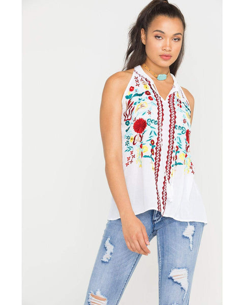 Scully Women's Honey Creek Embroidered Tassel Tank - Hc455