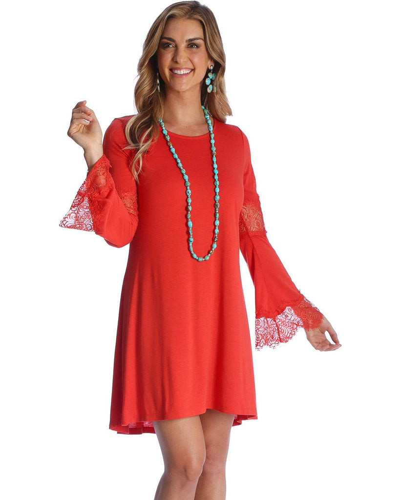 Wrangler Women's Paprika Crochet Bell Sleeve Dress - 2000222444Lwd182r