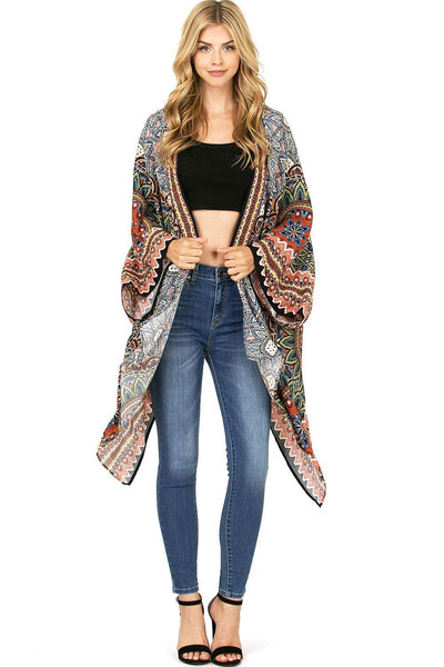 Flying Tomato Women's Bohemian Prints Inspired Drapey Cardigan