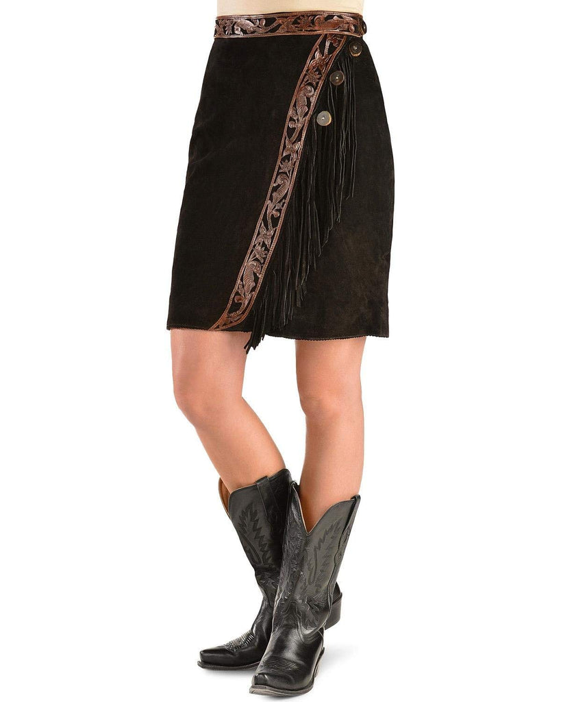 Kobler Leather Women's Tooled and Fringe Sedona Suede Skirt - Sedona Blk