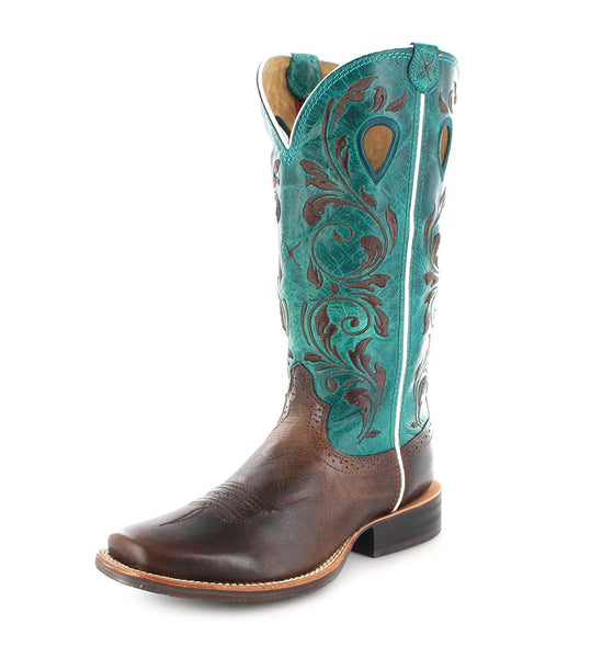 Twisted X Ladies Sq Cho/Tur Ruff Stock Boots