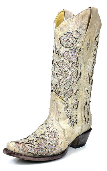 CORRAL A3322 Martina White Women's Glitter Inlay Crystals Wedding Fashion Western Boots