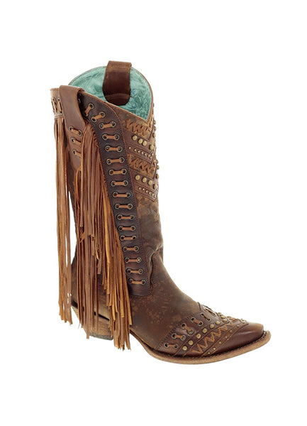 Corral Women's 14-inch Brown/Tan Woven Details & Fringed Sides Snip Toe Cowboy Boots - Sizes 5-12 B