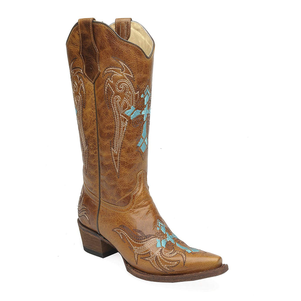Corral Circle G Women's Wing and Cross Embroidery Western Snip Toe Boots