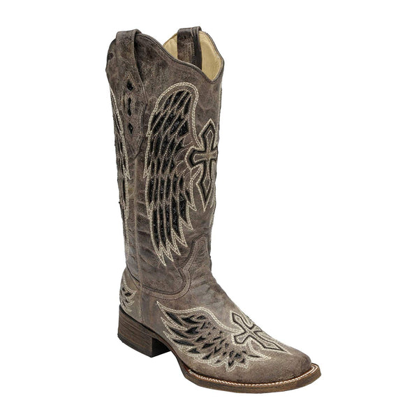 Corral Ladies Wing and Cross Sequin Square Toe Western Boot