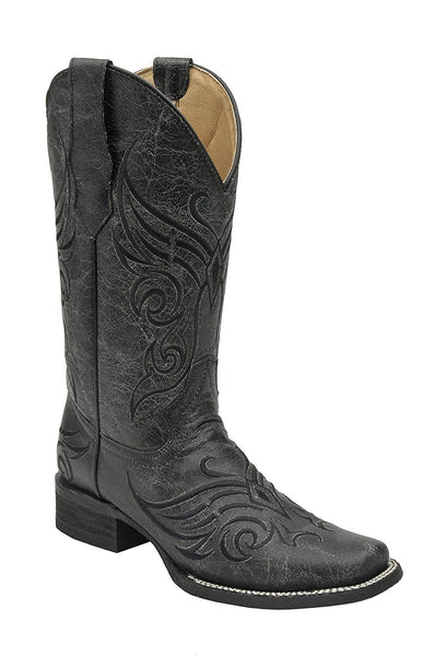 Corral Circle G Women's Embroidered Crackled Black Leather Cowgirl Boots
