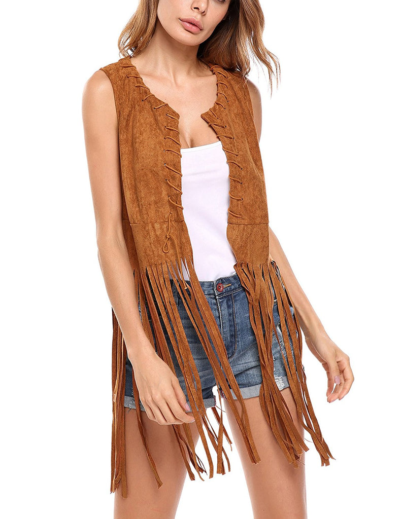 Hotouch Women Open-Front Faux Suede Sleeveless Tassels Vest Cardigan Female