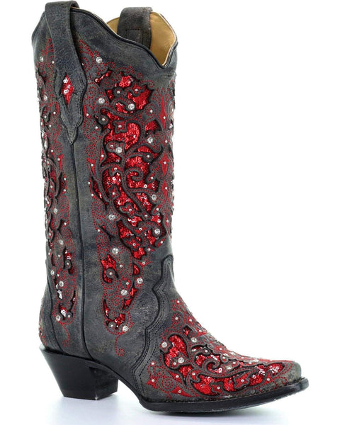 CORRAL Women's Crystal Sequin Inlay Cowgirl Boot Snip Toe - A3534