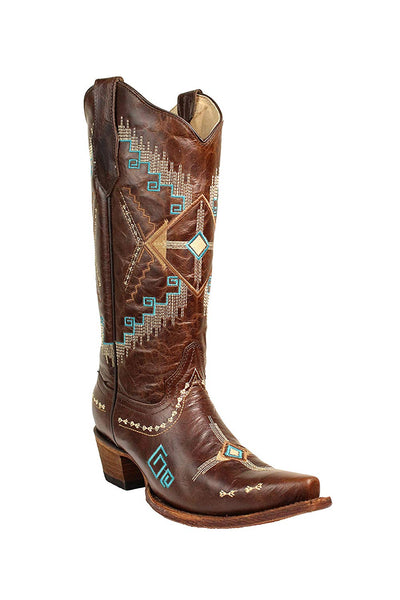 Corral Circle G Women's Southwest Brown Embroidery Snip Toe Cowboy Boots - Sizes 5-12 B