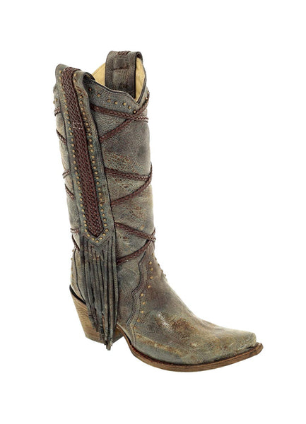 Corral Women's 13-inch Blue/Brown Braiding & Fringe Snip Toe Distressed Cowboy Boots