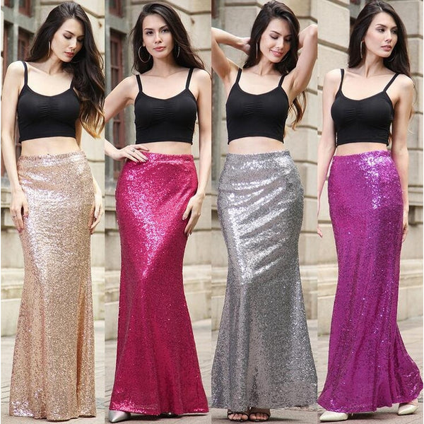 Europe and The United States Sequins Package Hip Long Skirt Party Dress 090