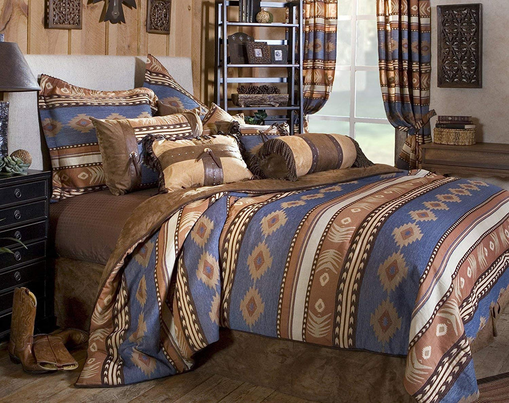 Rustic Western Southwestern Native American Patterns Equestrian Decoration Comforter Set 5PC Cimarron (King) R4L1702-5