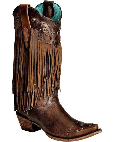 Corral Ladies Fringe And Studs Black/Grey Cowgirl Boot