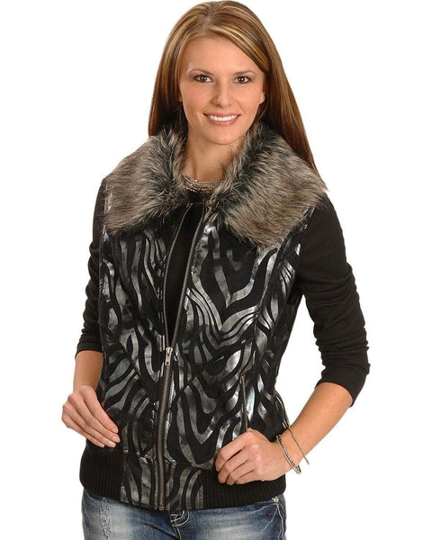 Panhandle Powder River Outfitters Women's Metallic Zebra Print Vest - 58-1670 01