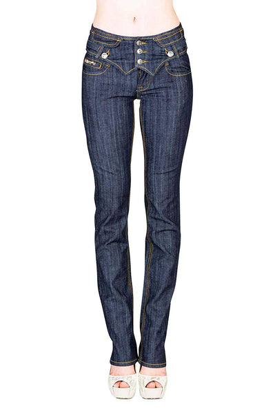 VIRGIN ONLY Women's Slim Fit Low Rise Stretch Straight Jeans