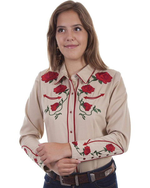 Scully Women's Rose Embroidered Western Shirt - Pl871-Tan