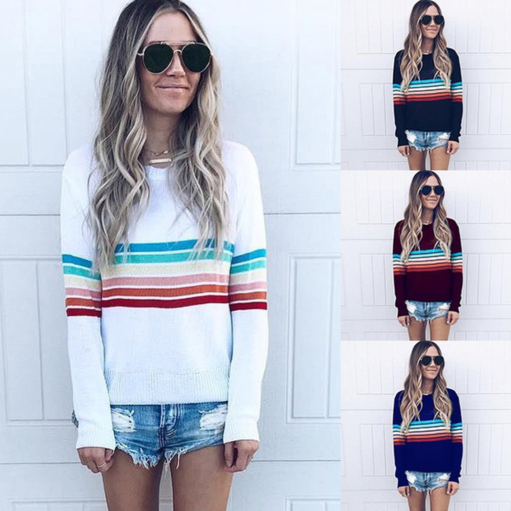 Women Knitted Sweater Lady Rainbow Stripe Crew Neck Loose Pullover Tops Jumper Knitwear Autumn