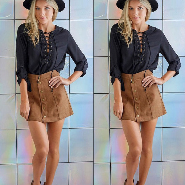Fashion Womens Solid Stretch High Waisted Casual Plain Brown Faux Suede Flared Skater A-Line Mini Skirt