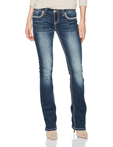 Grace in LA Women's 36 Inch Inseam Embellished Bootcut Jeans