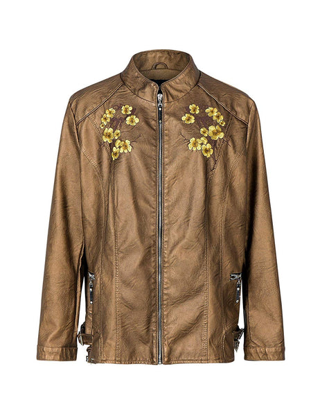 Bellivera Women Embroidered Floral Fall Motorcycle Leather Jacket Chaquetas De Mujer