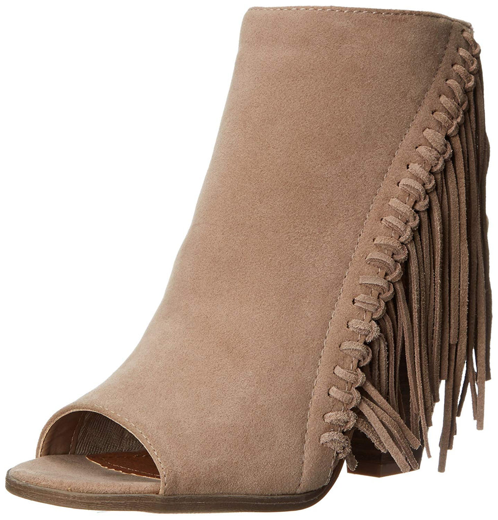 Rampage Women's Lauryn Fringe Peep Toe Open Back Heeled Ankle Boho Bootie