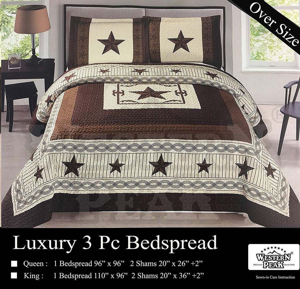 Western Peak 3 Pc Luxury Western Barb Wire Texas Lone Star Cabin Lodge Barbed Wire Luxury Quilt Bedspread OVERSIZE Comforter (Queen, Turquoise)