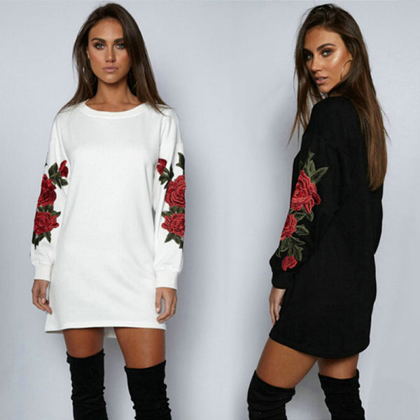 Women Spring and Fall Casual Round Neck Long Sleeves Floral Embroidered Pullover Sweatshirt Dress