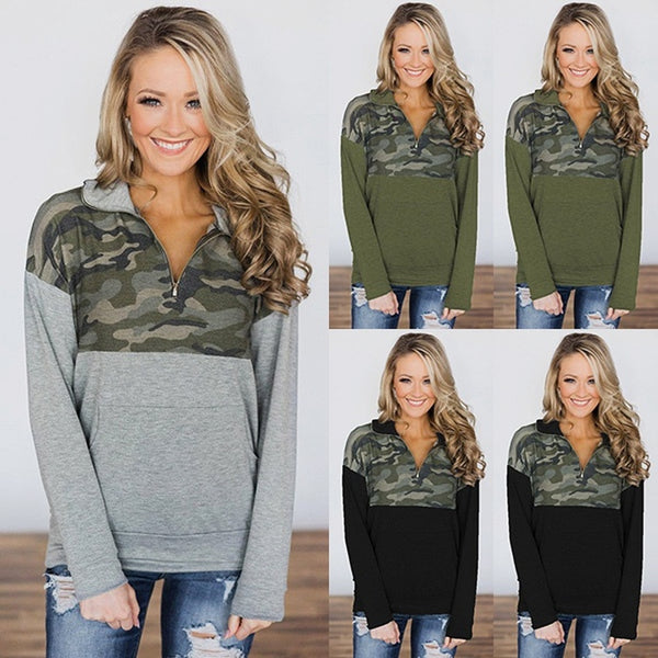 Autumn Fashion Camouflage Patchwork Thin Sweater V Neck Zipper Long Sleeve Blouse Sweatershirt