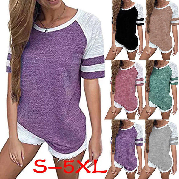 women's Summer Short Sleeve Tops Casual Shirt Loose Blouse Ladies CottonT-shirt Plus Size S-5XL