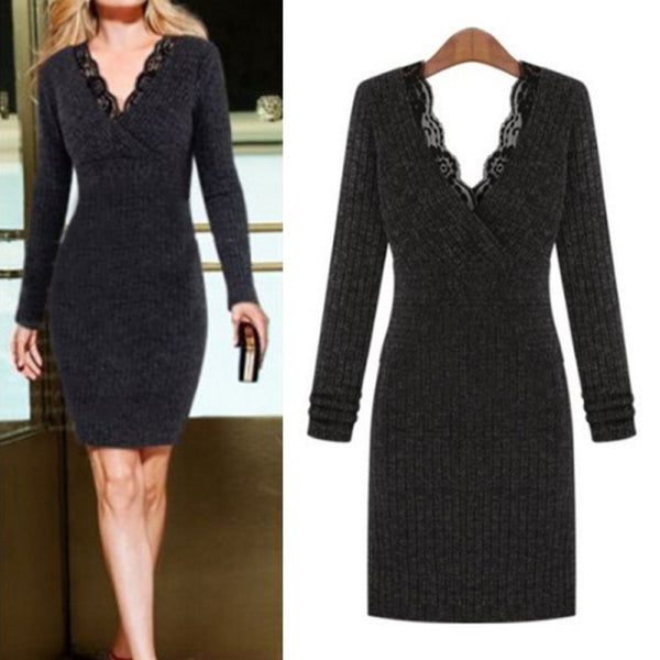 Fall Plus Size Casual V-Neck Long Sleeves Lace Stitching Bodycon Sweater Dress
