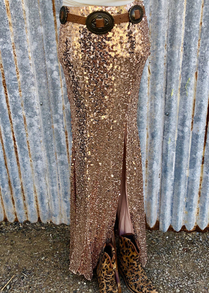 Novelle Sequin Slit Skirt - Rose Gold
